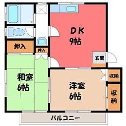 栃木県宇都宮市西川田本町3丁目の賃貸アパートの間取り