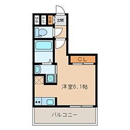 福岡市地下鉄空港線 大濠公園駅 徒歩4分の賃貸マンション 4階ワンルームの間取り