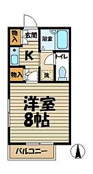 桔梗荘[205号室]の間取り