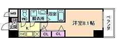 セオリー梅田ドムス 8階1Kの間取り