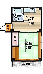 大阪府大阪市城東区今福西3丁目の賃貸マンションの間取り