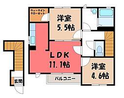 栃木県下野市駅東4丁目の賃貸アパートの間取り