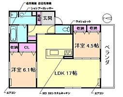 (仮称)D-room熊野町[2階]の間取り