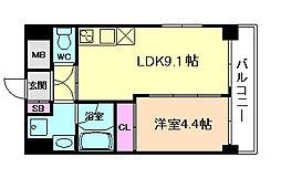 Osaka Metro谷町線 天神橋筋六丁目駅 徒歩3分の賃貸マンション 9階1LDKの間取り