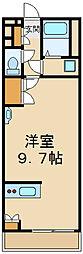 西武国分寺線 小川駅 徒歩20分の賃貸マンション 1階ワンルームの間取り