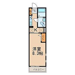 栃木県小山市西城南4丁目の賃貸マンションの間取り
