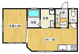 西鉄天神大牟田線 大橋駅 徒歩7分の賃貸マンション 3階1LDKの間取り