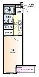 フジパレス堺鳳西I番館 3階1Kの間取り