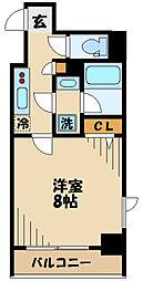 京王線 府中駅 徒歩5分の賃貸マンション 8階1Kの間取り