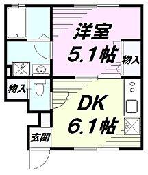 東京都八王子市小門町の賃貸アパートの間取り