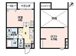 南海線 堺駅 徒歩8分の賃貸アパート 2階1Kの間取り