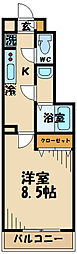 JR南武線 西国立駅 徒歩15分の賃貸アパート 1階1Kの間取り