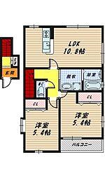 大阪府大阪市鶴見区緑1丁目の賃貸アパートの間取り