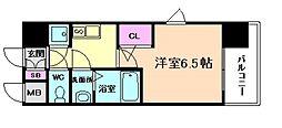 レジュールアッシュ塚本II 2階1Kの間取り