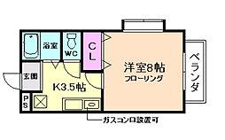 大阪府箕面市新稲1丁目の賃貸アパートの間取り