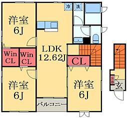 京成本線 京成臼井駅 徒歩22分の賃貸アパート 2階3LDKの間取り