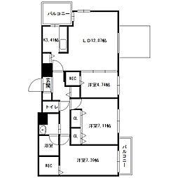 北海道札幌市中央区宮の森三条11丁目の賃貸マンションの間取り