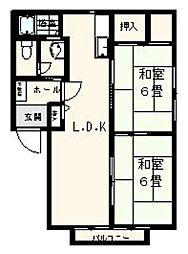 コーポハピネスII B[102号室]の間取り