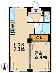 東京都八王子市下柚木2丁目の賃貸アパートの間取り