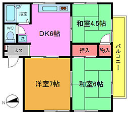 ハイム平戸B棟[3階]の間取り