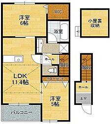 滋賀県彦根市西沼波町の賃貸アパートの間取り