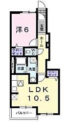 神奈川県厚木市下依知2の賃貸アパートの間取り