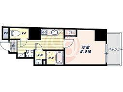 阪堺電気軌道上町線 松虫駅 徒歩3分の賃貸マンション 7階1Kの間取り