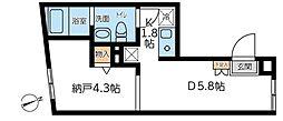 コンポジット早稲田 1階ワンルームの間取り