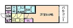 レジデンス大阪福島フォルテ 9階1Kの間取り