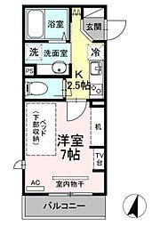 小田急小田原線 生田駅 徒歩4分の賃貸アパート 3階1Kの間取り