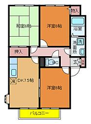 千葉県松戸市幸田2丁目の賃貸アパートの間取り
