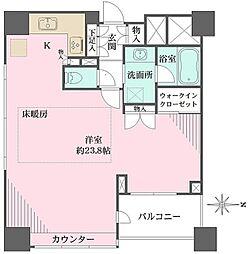 新宿山吹アインスタワー 3階ワンルームの間取り