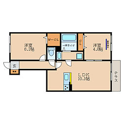 (仮称)彦根市野田山町D-Room 1階2LDKの間取り