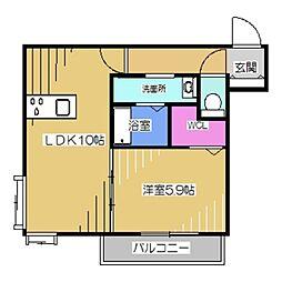 La・Vita Nakamozu 2階1LDKの間取り
