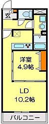 JR川越線 武蔵高萩駅 徒歩12分の賃貸アパート 1階1LDKの間取り