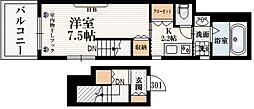 MAISON MUSASHI 3階1Kの間取り
