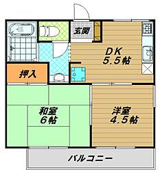 メゾン東須磨[2階]の間取り
