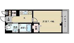 アクロス大日アパートメント 1階1Kの間取り