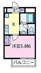 大阪府松原市天美東8丁目の賃貸アパートの間取り