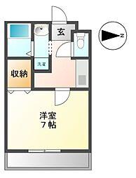 愛知県豊田市田中町2の賃貸アパートの間取り