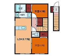 千葉県柏市豊住の賃貸アパートの間取り