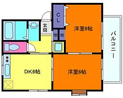 兵庫県神戸市東灘区森北町1丁目の賃貸アパートの間取り
