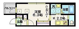 京急本線 新馬場駅 徒歩8分の賃貸マンション 3階1Kの間取り