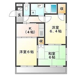 愛知県豊橋市忠興1丁目の賃貸マンションの間取り