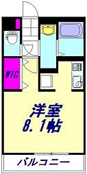 JR武蔵野線 東浦和駅 徒歩8分の賃貸マンション 2階ワンルームの間取り