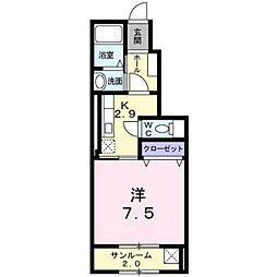 JR白新線 西新発田駅 徒歩23分の賃貸アパート 1階1Kの間取り