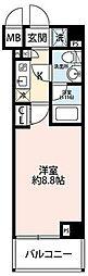 東急田園都市線 溝の口駅 徒歩11分の賃貸マンション 4階1Kの間取り