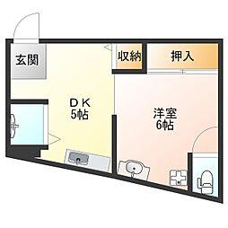 大阪府大阪市此花区高見2丁目の賃貸アパートの間取り