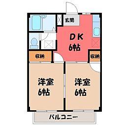 栃木県栃木市今泉町1丁目の賃貸アパートの間取り