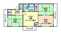 大阪府箕面市半町2丁目の賃貸マンションの間取り